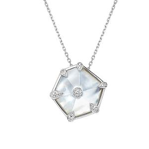 Nova Hexagon Large Pendant in White Gold