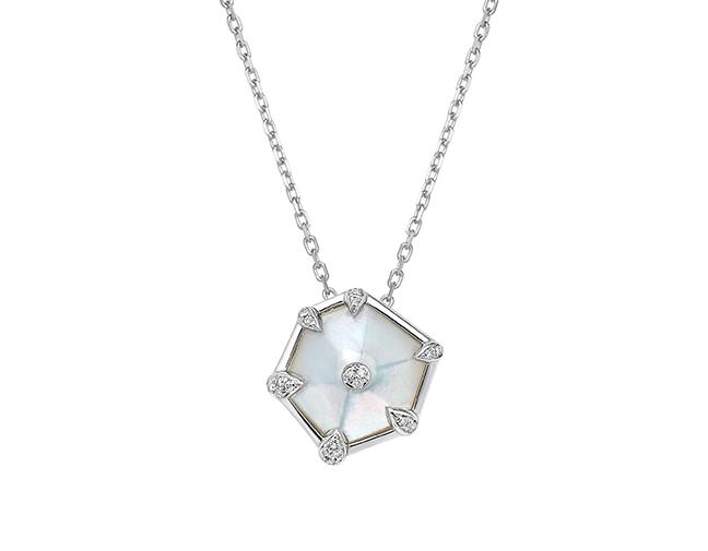 Nova Hexagon Small Pendant in White Gold