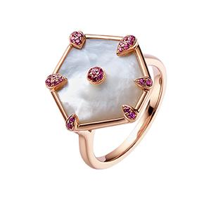 Nova Hexagon Ring in Rose Gold