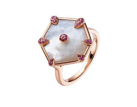 Nova Hexagon Ring in Rose Gold