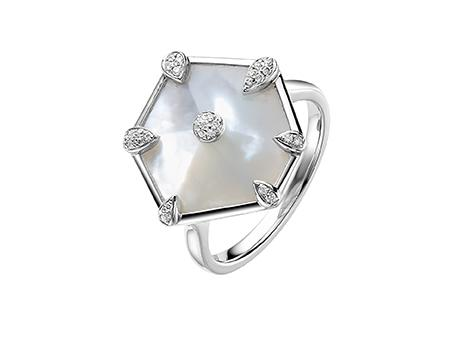 Nova Hexagon Ring in White Gold