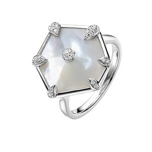 Nova Hexagon Ring in White Gold