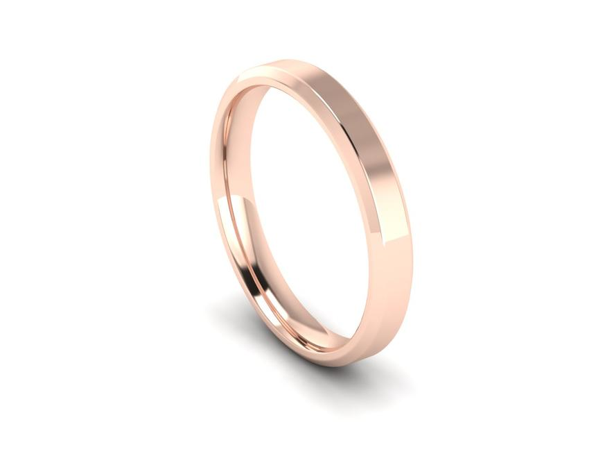 Chamfered Edge Intermediate Weight Band in 9ct Rose Gold