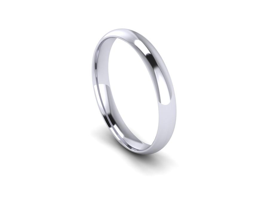 Traditional Court Light Weight Band in Platinum